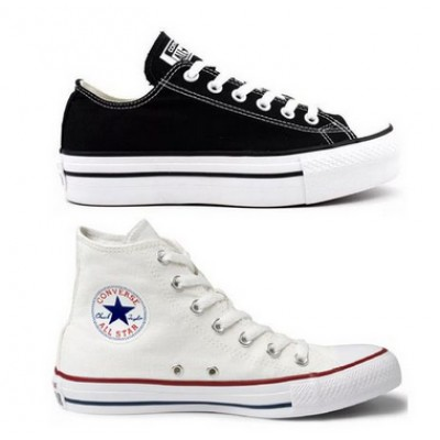 Kit 1 Tênis Converse All Star Plataforma Preto + 1 Bota All Star Branco