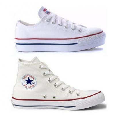 Kit 1 Tênis Converse All Star Plataforma Branco + 1 Bota All Star Branco