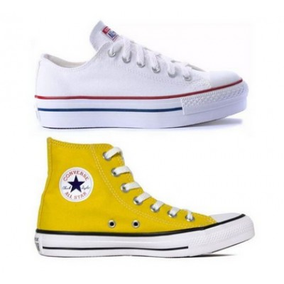 Kit 1 Tênis Converse All Star Plataforma Branco + 1 Bota All Star Amarelo